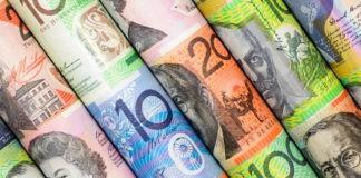aussie dollar bills closeup