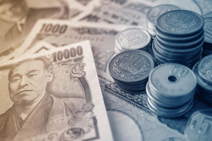 Japanese money Yen bills and coins