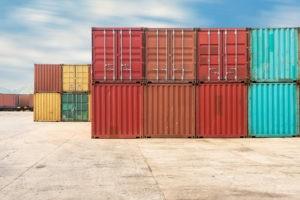 Wibest Broker — Shipping: Handling stack of container shipping, Container shipping yard.