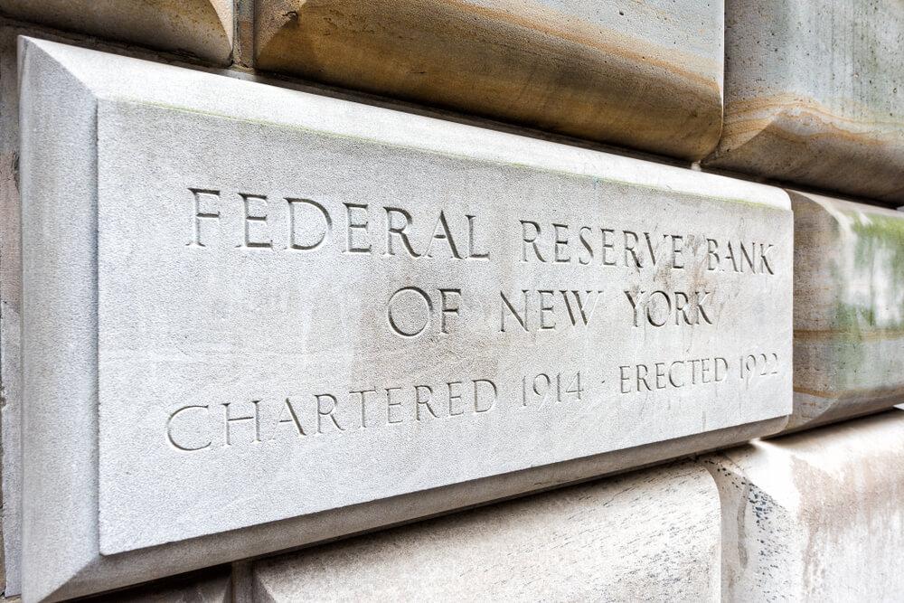 Federal Reserve Bank sign closeup.