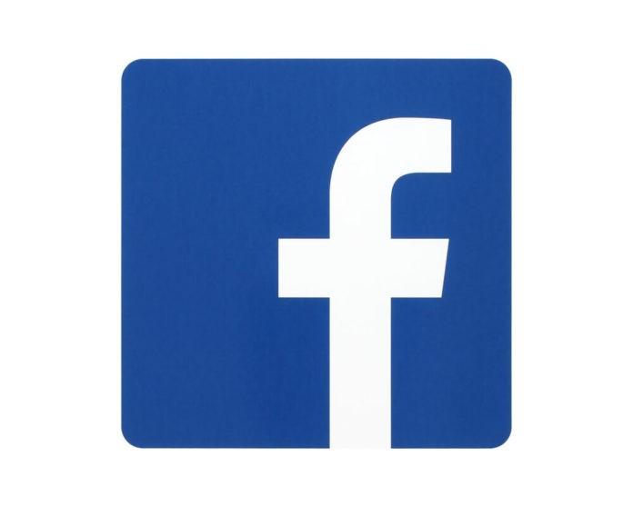 Facebook logo in white background.