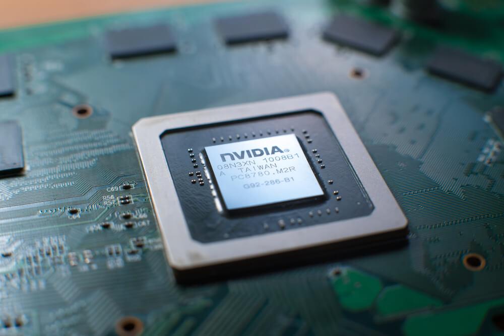 Nvidia: Nvidia graphic chip close up.