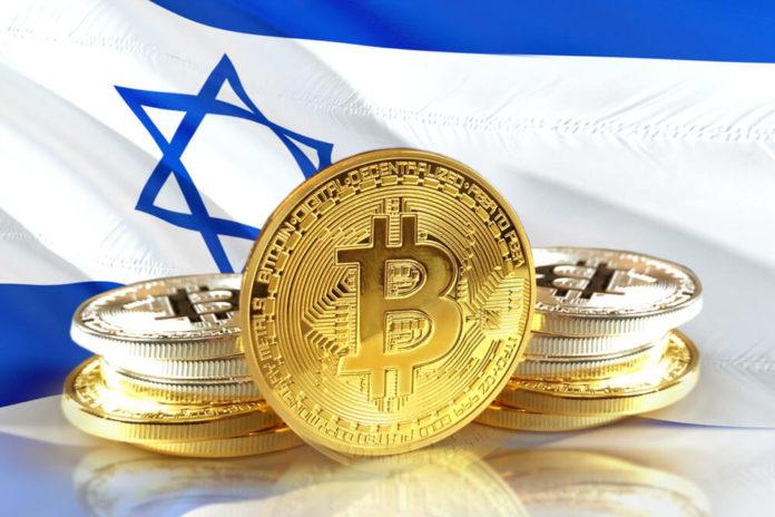 Digital Coins: Bitcoin coins on Israel's flag.