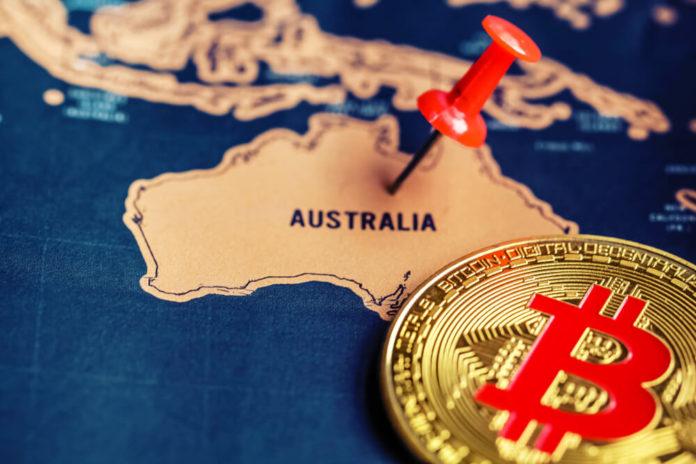 Digital Coins: Bitcoin on Australia map.
