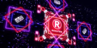 Android: New cryptocurrency Rakuten coin glow neon symbol of digital money.