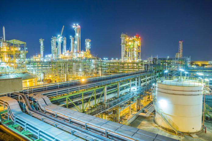 Petroleum Product: Twilight scene of chemical plant.