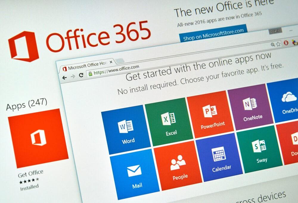 Microsoft 365: Microsoft Office 365 on PC screen.