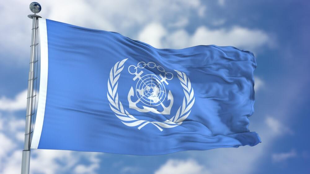 International Maritime Organization: International Maritime Organization flag waving against clear blue sky close up.