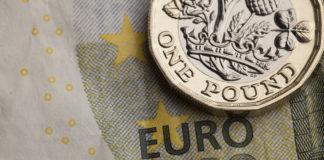 Wibest – EURGBP: British pound coin over a euro bill.