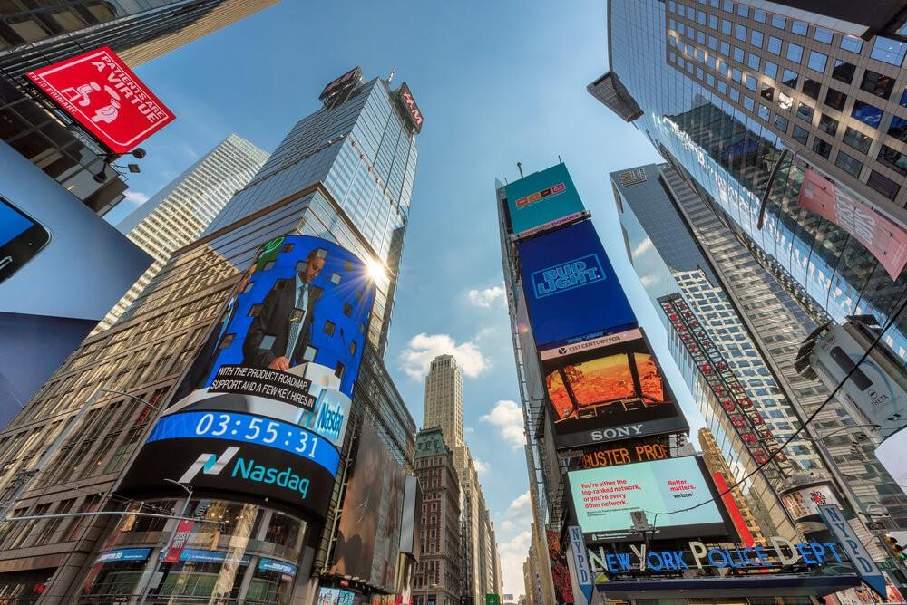 Nasdaq: Skyscrapers and NASDAQ building of Time Square.