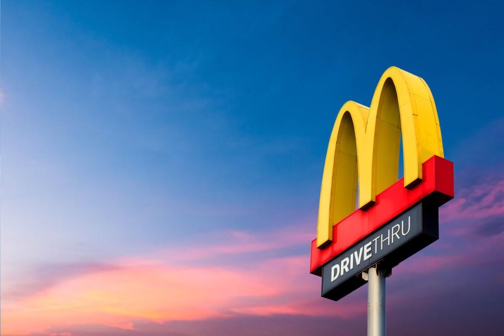 McDonalds: McDonald's logo on the sky background.