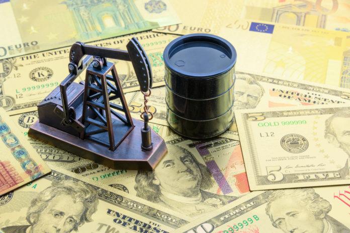 Wibest – US China Tariffs: Oil barrel and pumpjack over US dollar bills.