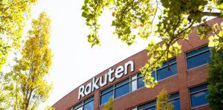 Rakuten: A logo sign of Rakuten outside of the headquarters.