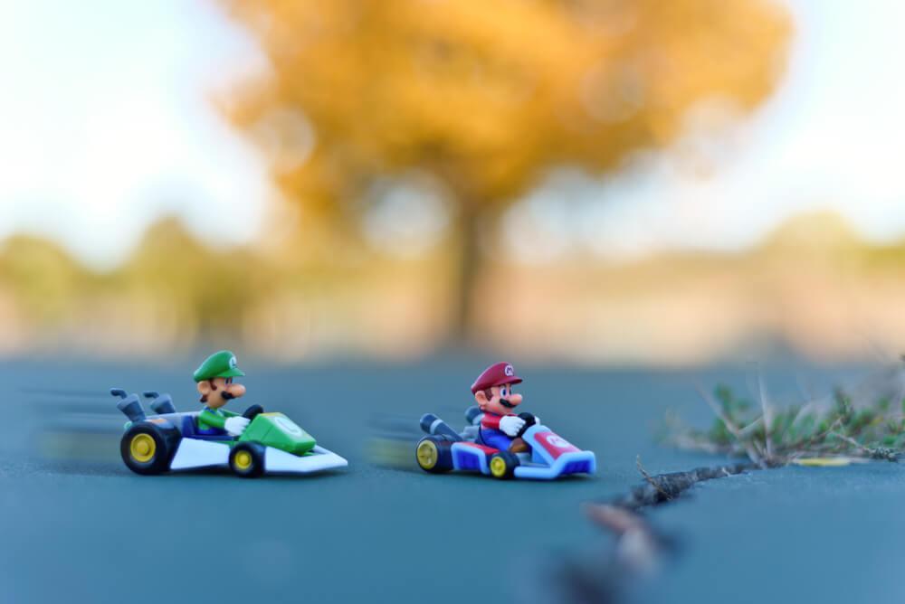 Mario: Mario and Luigi racing.