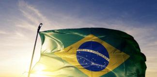 The Brazilian flag at sunset.