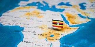 Wibest – Uganda: Ugandan flag on the Africa's map.