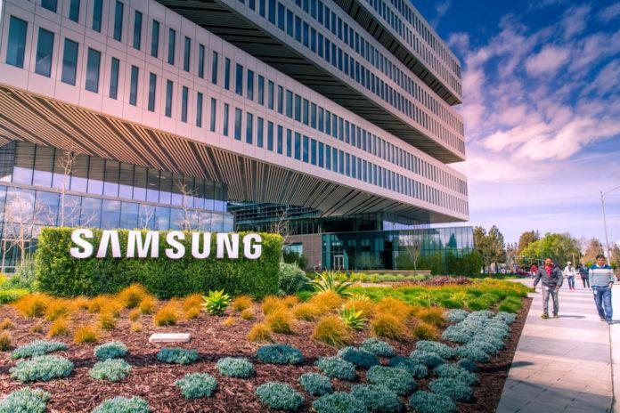 Samsung: Samsung logo outside Samsung building.