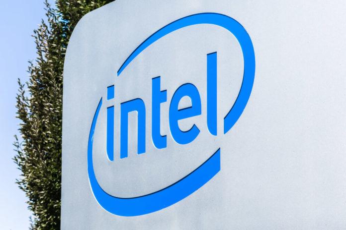 Intel: Close up of Intel sign photo.