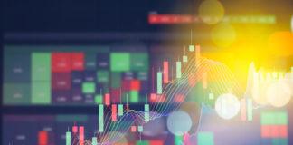 24Option: Stock market digital graph chart on LED display.