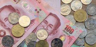 Wibest – Thai: Thai baht coins and bills.