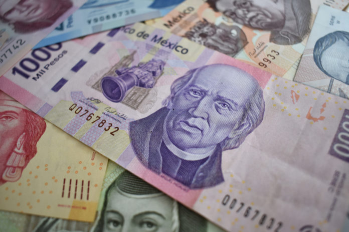 Wibest – United States: Different Mexican peso bills.