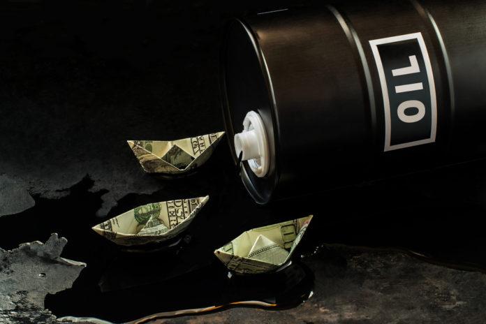 Wibest – Oil and petroleum: Oil barrel spilling crude and US dollar bills folded like boats floating.