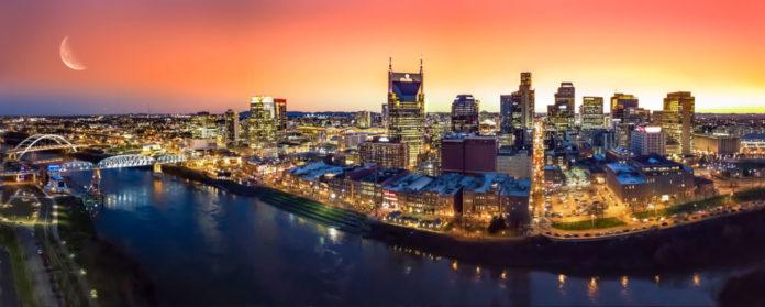 Nashville skyline with moon.