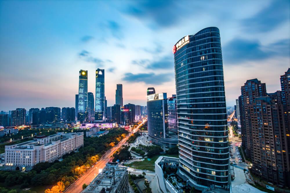 modern high-rise buildings line