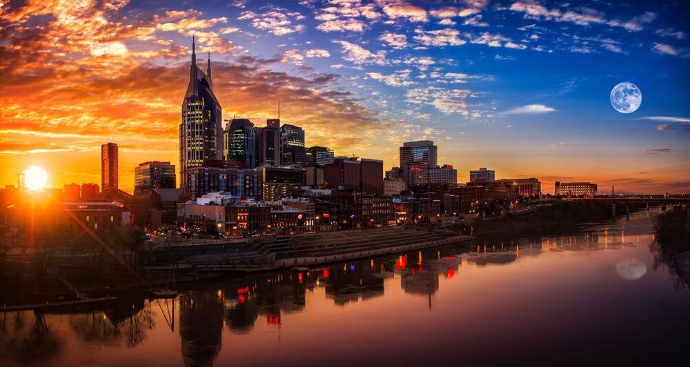 Nashville skyline sunset.