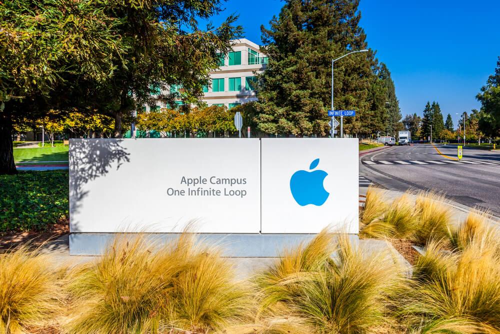 Apple Campus One Infinite Loop sign at Apple Inc Headquarters.