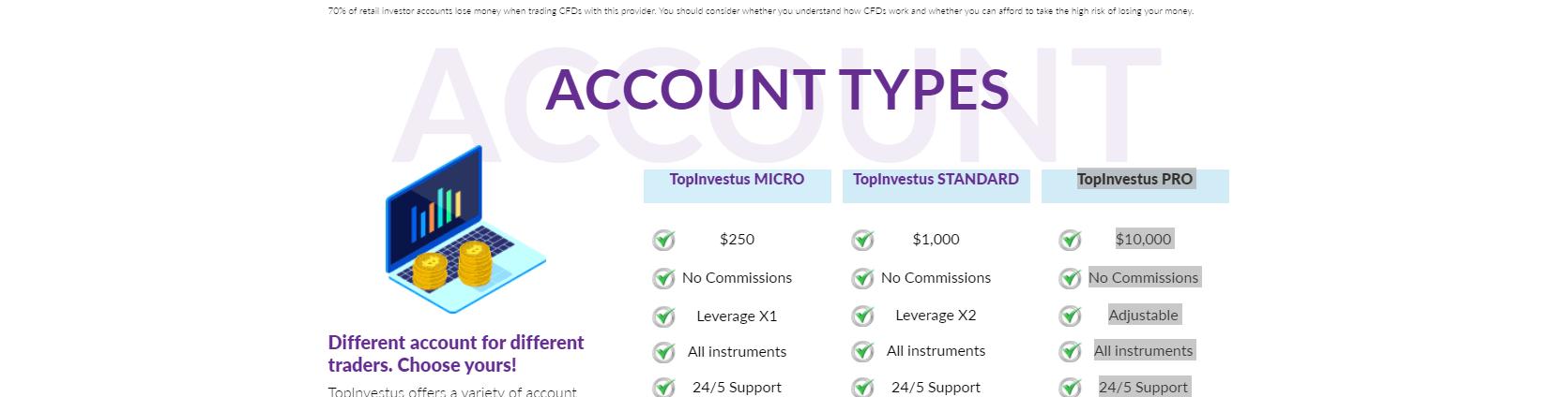 TopInvestus Account Types