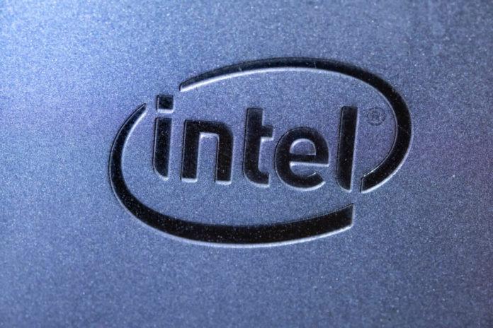 Intel logo on SSD Inside a high performance computer.