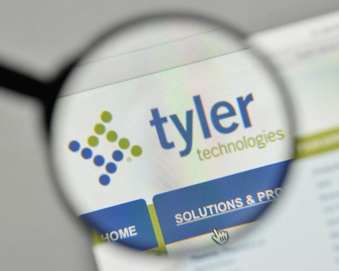 Tyler Technologies logo on the website homepage.
