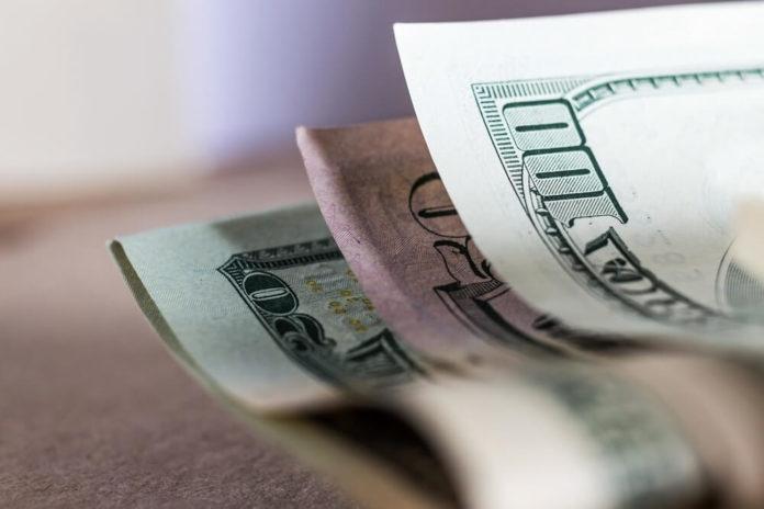 Dollar bills close up