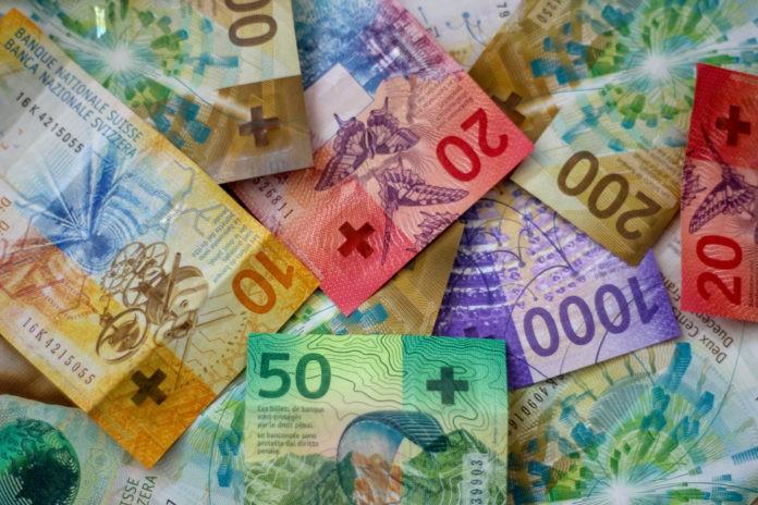 Washington: Swiss franc bills.